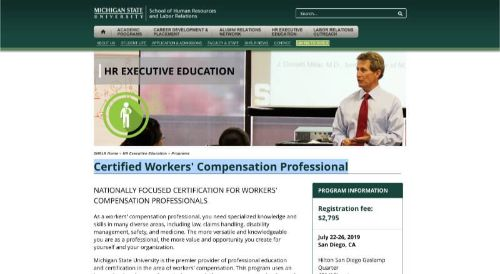 MSU SHRLR Certified Workers' Compensation Professional Course