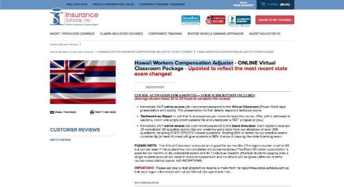 Insurance Schools, Inc. Hawaii Workers' Compensation Adjuster Package