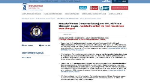 Insurance Schools, Inc. Kentucky Workers' Compensation Adjuster Course