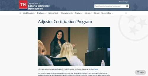 Tennessee Adjuster Certification Program