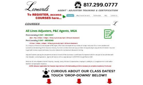 Leonard's Agent and Adjuster Training & Certification