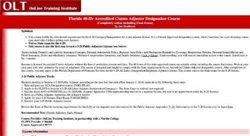 OLT Florida 40-Hr Accredited Claims Adjuster Designation Course
