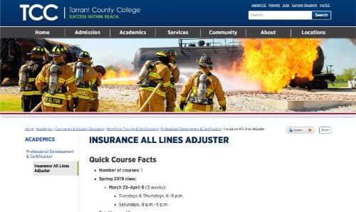 TCC Tarrant County College All-Lines Workers' Comp Adjuster Course