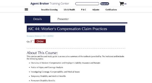 AB Training Center Workers' Compensation Claims Practices (AIC Courses)