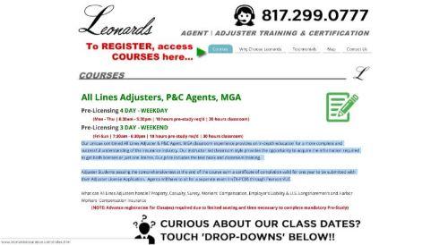Leonard's Insurance Training All Lines Adjusters, P&C Agents, MGA