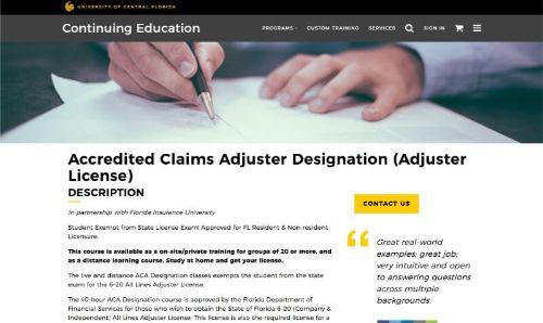 UCF Accredited Claims Adjuster Designation (Adjuster License)